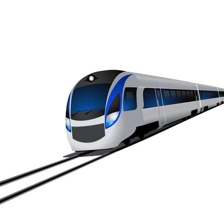 Moderner Hochgeschwindigkeitszug, isoliert auf weißem Hintergrund. EPS10-Vektor. Illustration