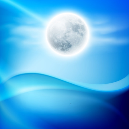 sky dive: Water wave at night with full moon. EPS10 vector.