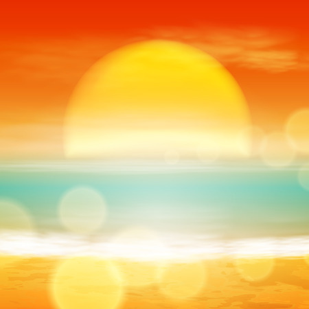 Sea sunset with the sun, light on lens. EPS10 vector. Çizim