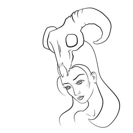 Demon woman with goat skull on her head. Hand drawn sketch. EPS10 vector. Vector