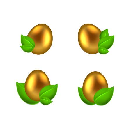 uova d oro: Set of golden eggs in green leaves isolated on white background. EPS10 vector.