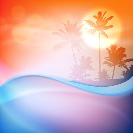 wasserwelle: Wasserwelle und Insel mit Palmen im Sonnenuntergang. EPS10-Vektor.