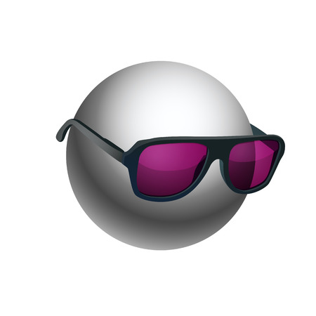 sunglasses isolated: Gray ball wearing sunglasses isolated on white background. EPS10 vector. Illustration