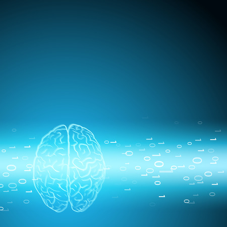 Digital brain on blue background. EPS10 vector.