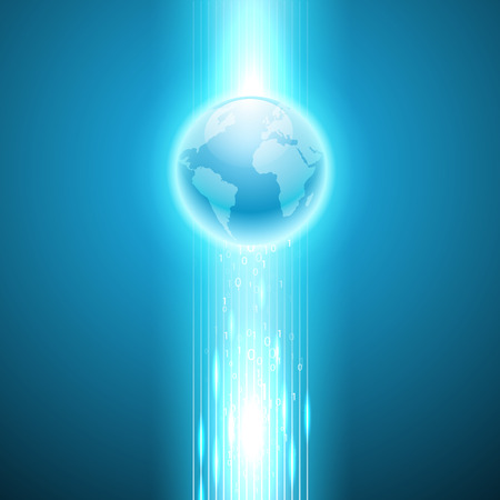 binary globe: Stream of binary code to the globe. EPS10 vector background.