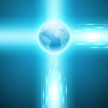 cripta: Flusso di codice binario per il globo. Vettore sfondo EPS10. Vettoriali