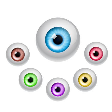 cornea: Set di occhi colorati isolato su sfondo bianco. EPS10 vettore.