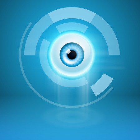 3d icons: Abstract background with eye. EPS10 vector.
