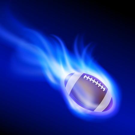Burning football on blue fire. EPS10 vector.