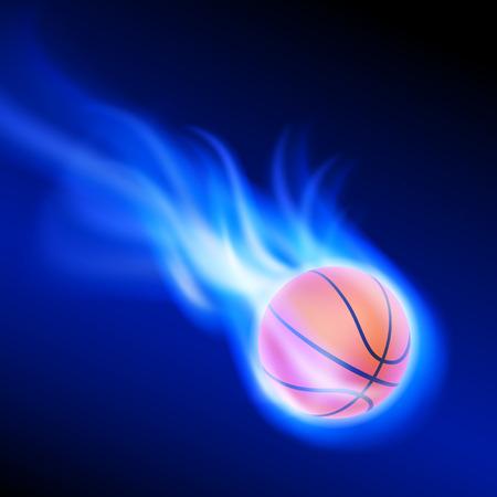Burning basketball on blue fire. EPS10 vector. Vettoriali