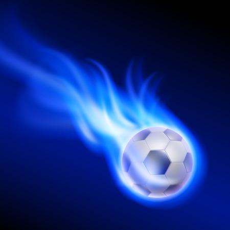 Brennende Fußball auf blauem Feuer. EPS10-Vektor.