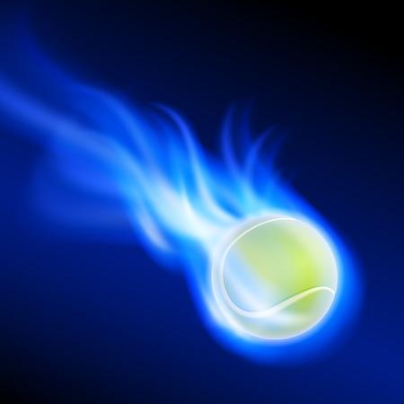 Burning tennis ball on blue fire. EPS10 vector. Illustration