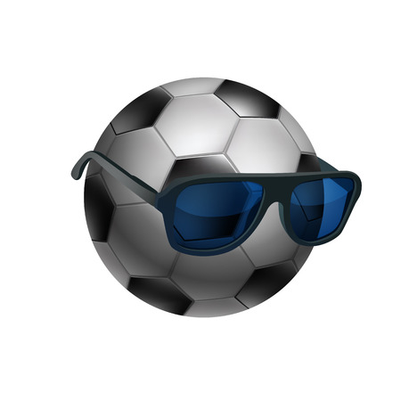 Black and white soccer ball wearing sunglasses. EPS10 vector. Vector