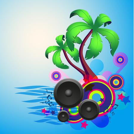 음악과 환상의 디자인 요소 열 대 디스코 댄스 배경. EPS10 벡터.