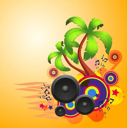 음악 및 판타지 디자인 요소와 함께 열 대 디스코 댄스 배경. EPS10 벡터입니다.