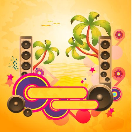 discoteque: Tropical disco dance textured background with music and fantasy design elements. EPS10 vector. Illustration