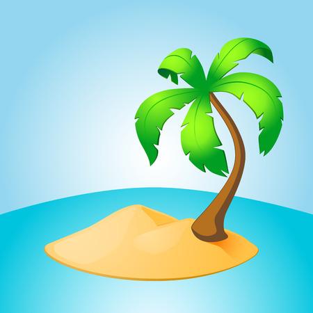 Palm tree island. EPS10 vector.