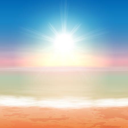 美しい海の夕日。EPS10 ベクトル。  イラスト・ベクター素材