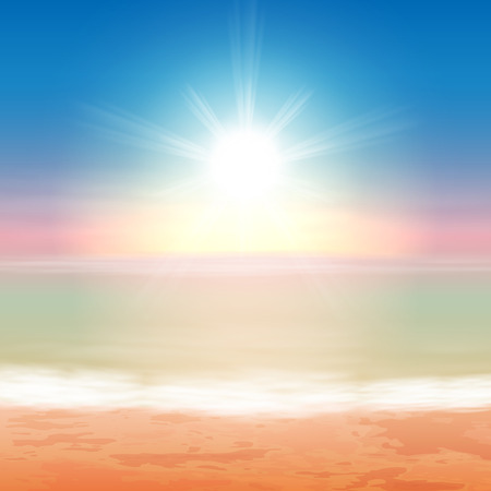Beautiful sea sunset. EPS10 vector. Vettoriali