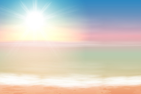 horizon over water: Beautiful sea sunset. EPS10 vector. Illustration
