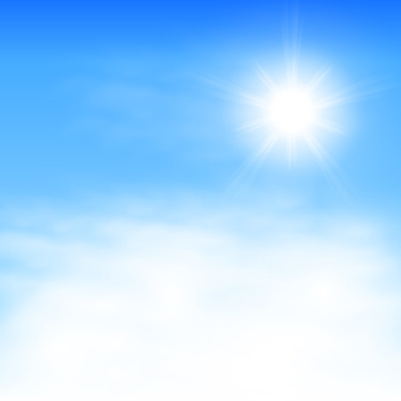 Sky with clouds and the sun.   Illustration