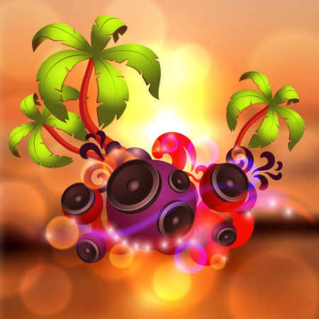 discoteque: Tropical disco dance background with music and fantasy design elements.    Illustration