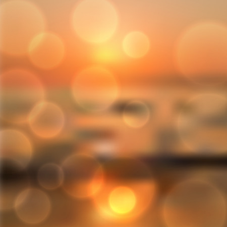 horizon over water: Blurred sea sunset background with light on lens.