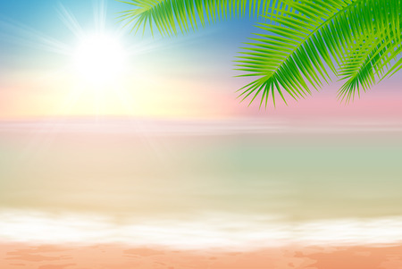 Beach and tropical sea with palm tree leaves.   Illustration