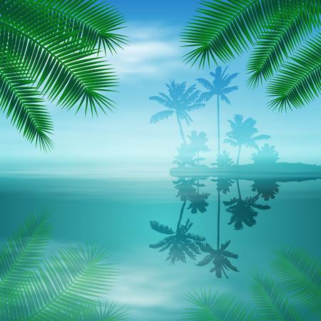 섬과 팜 나무와 바다.