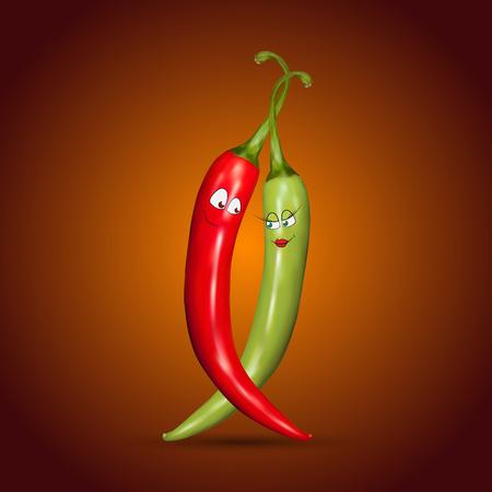 caricatura mexicana: Guindillas rojas y verdes con una sonrisa en fondo rojo