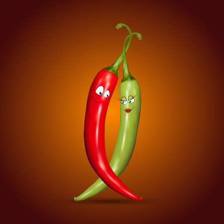kitchen studio: Red and green chilli peppers with smiles on red background