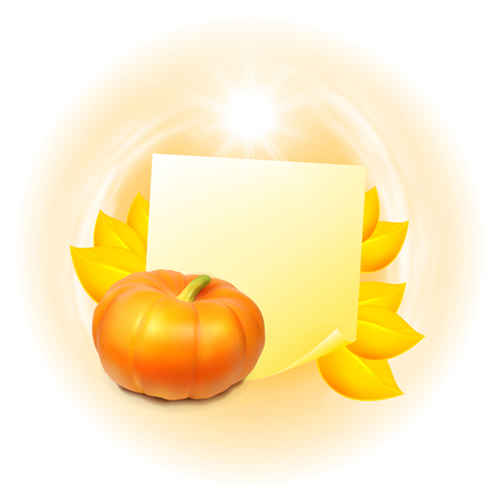 cucurbit: Note with autumn leaves and pumpkin. Label with place for text. vector. Illustration