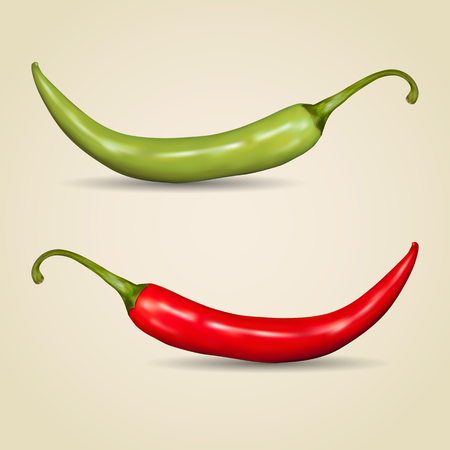 hot pepper: Set of chilli peppers on gray background