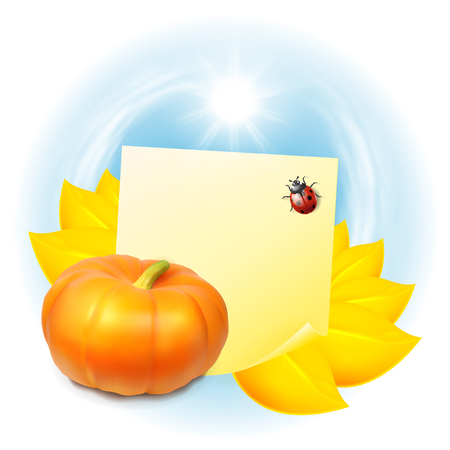 cucurbit: Note with autumn leaves and pumpkin. Label with place for text. vector