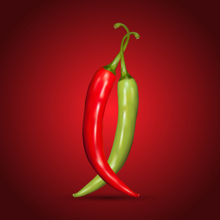 green chilli: Red and green chilli peppers on red background