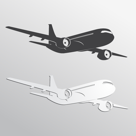 Black and white airplane\'s silhouettes.