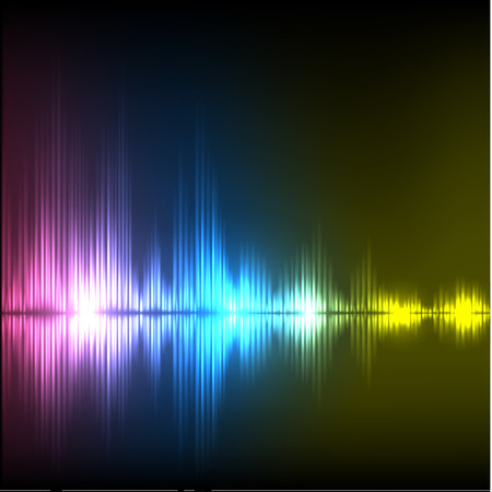 volume glow light: Abstract equalizer background. Purple-blue-yellow wave Illustration