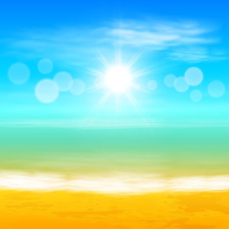 Strand en tropische zee met felle zon