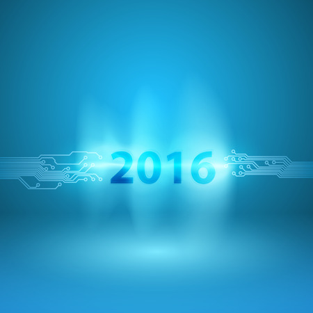 discharge time: Abstract blue background with a circuit board texture and 2016 in current arc Illustration