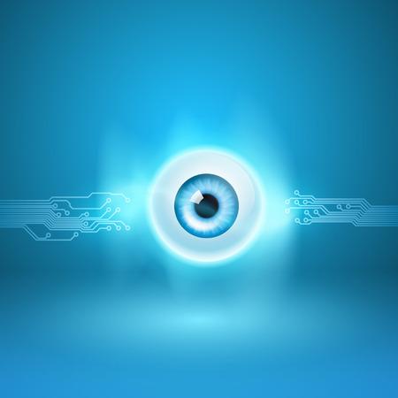 Zusammenfassung Hintergrund mit Auge und Schaltung