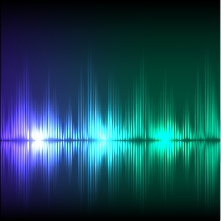 volume glow light: Abstract equalizer background. Blue-green wave Illustration