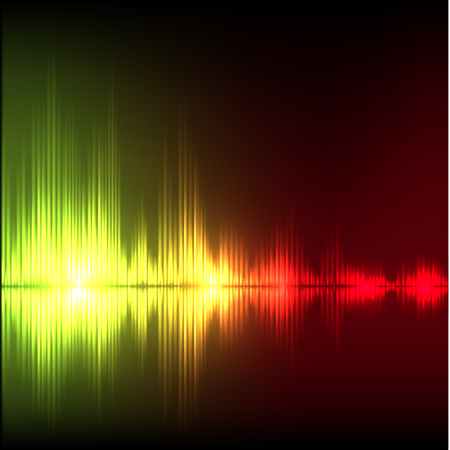volume glow light: Abstract equalizer background. Yellow-red wave
