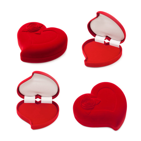 overburden: Set of red heart-shaped gift box isolated on white background Stock Photo