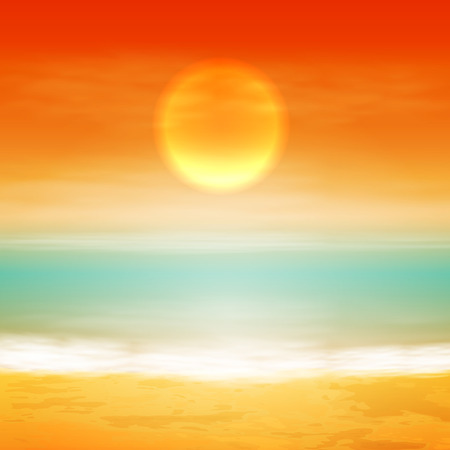 horizon over water: Sea sunset with the sun, light on lens. EPS10 vector. Illustration