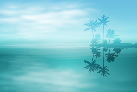 reverberation: Sea with island and palm trees. EPS10 vector.