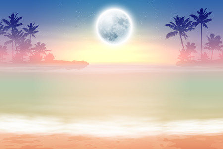 horizon over water: Beach with palm trees and full moon at night. EPS10 vector.