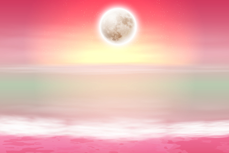 horizon over water: Purple beach with full moon at night. EPS10 vector. Illustration
