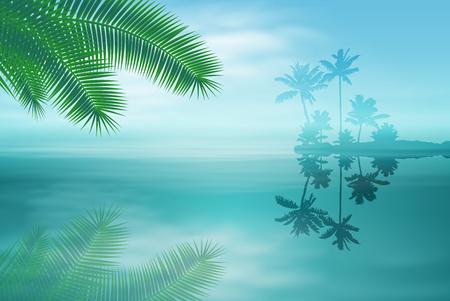 Mer avec îlot et de palmiers. vecteur EPS10. Vecteurs