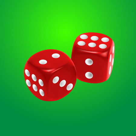 backgammon: Red dice on green background. EPS10 vector.