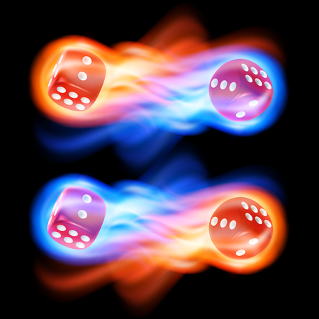 red dice: Set of two red dice in fire. EPS10 vector.